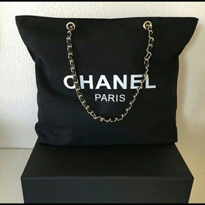 Beauty VIP Canvas Tote Gold Chain Shoulder Bag NEW